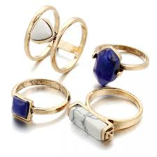 ring set navy blue white marble boho gold ring set