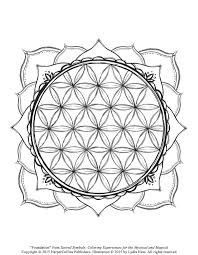 free coloring page with flowers stars and geometric shapes