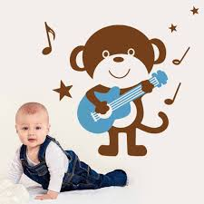compare prices monkey wall murals online shopping buy low wise cute monkey playing guitar art wall decals zypa stickers mural for kids