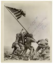 Marines Holding Flag Iwo Jima Memorabilia Iwo Jima Autographs