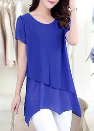 royal blue blouse top royal blue asymmetric sleeve tiered chiffon blouse on sale