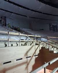 photo of steve jobs theater construction show leather seats with