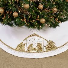 nativity ornate beaded white christmas tree skirt