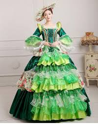 Marie Antoinette Halloween Costume Luxury Lace Ruffled Golden Blue Green Pink Medieval Dress