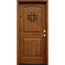 wood doors front doors the home depot 36 in x 80 in rustic arched 2 panel stained knotty alder