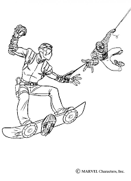 spiderman catching harry osborn goblin coloring pages
