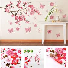 bathroom flower butterfly wall stickers decal removable peach wall