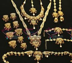 necklace wedding sets images Gold plated antique wedding set earrings necklace long necklace JPG
