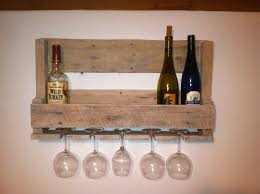very simple wood wall mounted wine rack storage with glass holder