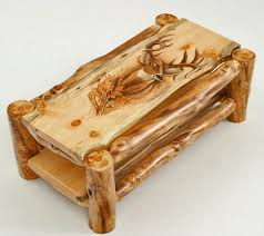 hand carved coffee table log coffee table cabin furniture hand carved custom