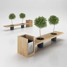 Model Bench Wooden Eco Design Bench With Integrated Trash Bin 3d Model