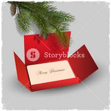 christmas card and red envelope with branch of fir royalty free