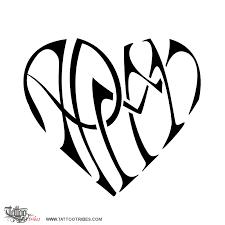 tattoo of a p m m heart bond tattoo custom tattoo designs on
