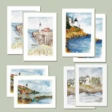 watercolor notecards boxed note cards lighthouse trails