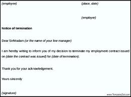 termination notice letter example templatezet