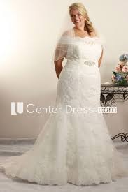 jeweled wedding dresses trumpet the shoulder jeweled lace plus size wedding dress
