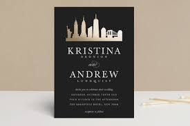 wedding invitations nyc new york skyline foil pressed wedding invitations by whalen minted
