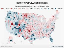 Map Of Counties In Florida by County Population Change Map 2015 2016 Business Insider
