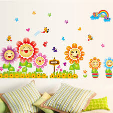 sunflower cartoon wall stickers for kids room diy home decorations