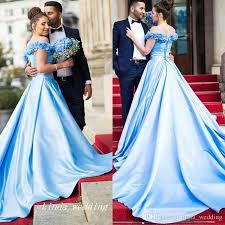 light blue formal dresses 2017 long fancy prom dress light blue off shoulders backless corset