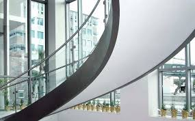 helical staircase stone steps metal frame with risers