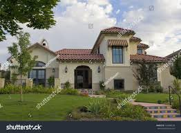 southwestern houses southwestern style stucco house roof stock photo 124369528