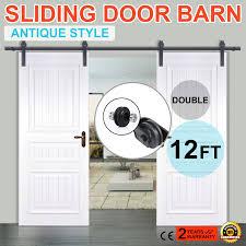 Vintage Sliding Barn Door Hardware by 6 6 6 10 12ft Rustic Black Double Sliding Barn Door Hardware