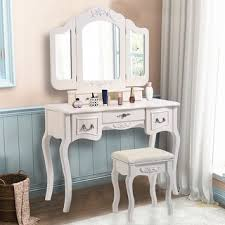 Bobkona St Croix Collection Vanity Set With Stool White Cherry Tri Mirror Vanity Free Shipping Today Overstock Com