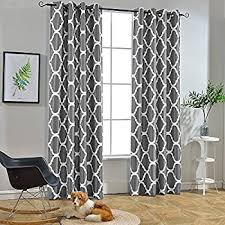 Grey And White Curtains Melodieux Moroccan Fashion Room Darkening Blackout