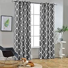 Gray And White Curtains Amazon Com Meridian Gray Grommet Room Darkening Window Curtain