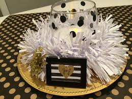 table centerpiece black gold and white craft remedy