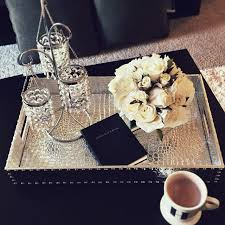 silver coffee table tray our everglades rectangular tray really pops on hayleylarue s coffee
