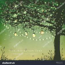Hanging Tree Lights by Hanging Decorative Holiday Lights Back Yard Stock Vector 384198877