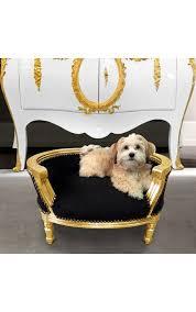 canapé lit pour chien canapé lit baroque pour chien ou velours noir et bois doré