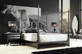 Black Poster Bed Home Design Modern Black Metal Four Poster Bed With Drapes In