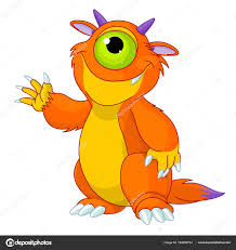 cute horned cyclops monster u2014 stock vector dazdraperma 164084704