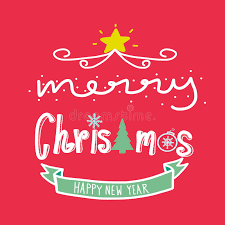 merry and happy new year word illustration stock