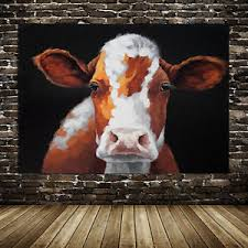 Cow Home Decor Painted Modern Abstract Pop Painting Cow Home