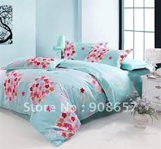 Girls Queen Comforter Fresh Blue Pink Flower Pattern Cotton Printed Duvet Quilt Covers