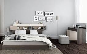 chambre gris perle design interieur tête lit avec rangement design élégant chambre