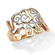 classic elephant ring holder images 18k gold plated two tone elephant ring tailored free shipping on jpg