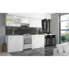 cuisine laque blanc ultra cuisine complète l 2m40 blanc laqué brillant achat