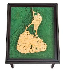 Block Island Map Custom Wood Charts Of Block Island End Table From Carved Lake Art