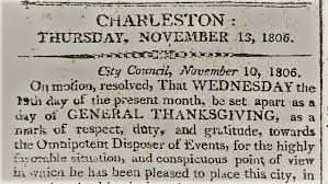 thanksgiving in early charleston charleston county library
