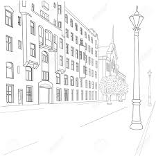outline sketch of european city street royalty free cliparts