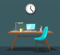 bureau dessin lieu de travail moderne travail de bureau illustration de vecteur de