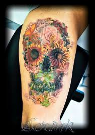 collection of 25 colorful skull with flower image