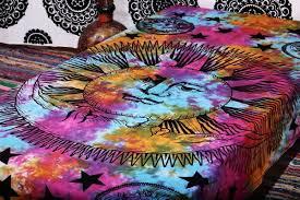 amazon com psychedelic celestial sun moon stars tie dye tapestry