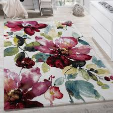 Modern Patterned Rugs by Modern Canvas Design Rug Colourful Flower Pattern Multi Coloured
