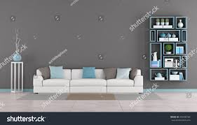 Wall Bookcase Contemporary Living Room White Sofacolorful Cushion Stock